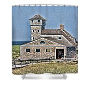 U S Lifesaving Station Shower Curtain