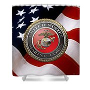 U S M C Emblem Over American Flag Shower Curtain