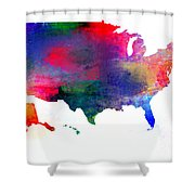 U S Map Color  Shower Curtain