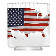 U S Map Stars N Stripes  Shower Curtain