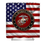 U. S.  Marine Corps - C O And Warrant Officer E G A Special Edition Over U. S.  Flag Shower Curtain