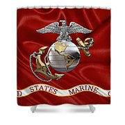 U. S.  Marine Corps - C O And Warrant Officer Eagle Globe And Anchor Over Corps Flag Shower Curtain