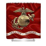 U. S.  Marine Corps - N C O Eagle Globe And Anchor Over Corps Flag Shower Curtain