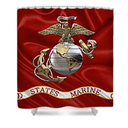 U. S.  Marine Corps - U S M C Eagle Globe And Anchor Over Corps Flag Shower Curtain