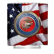 U. S. Marine Corps - U S M C Seal Over American Flag. Shower Curtain