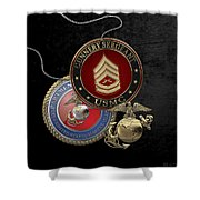 U. S. Marine Gunnery Sergeant Rank Insignia Over Black Velvet Shower Curtain