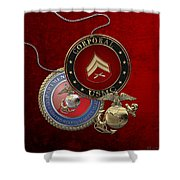 U. S.  Marines Corporal Rank Insignia Over Red Velvet Shower Curtain