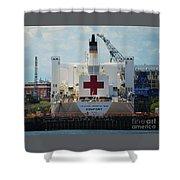 U S N Hospital Ship, Comfort In Boston's Dry Dock Shower Curtain