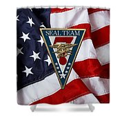 U. S. Navy S E A Ls - S E A L Team Seven  -  S T 7  Patch Over U. S. Flag Shower Curtain