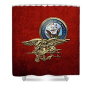 U. S. Navy S E A Ls Trident Over Red Velvet Shower Curtain