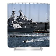 U S S Sampson And U S S Essex In San Diego Shower Curtain
