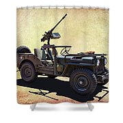 U. S.rmy Jeep With Assualt Weapons Shower Curtain