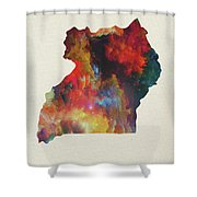 Uganda Watercolor Map Shower Curtain