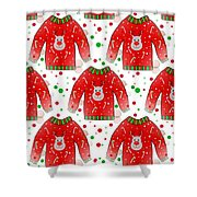 Ugly Christmas Sweater Pattern Shower Curtain