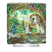 Ugly Duckling - Dragon Baby And Owls Shower Curtain