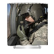 Uh-60 Black Hawk Crew Chief Looking Shower Curtain
