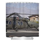 Uh-60 Black Hawk Helicopter At Pinal Shower Curtain