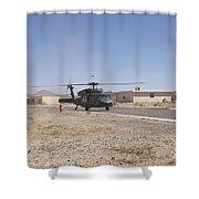 Uh-60 Black Hawk Helicopter Lands Shower Curtain
