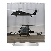 Uh-60 Black Hawks Taxis Shower Curtain