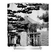 Ukimi-do Temple Shower Curtain