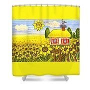Ukrainian House With Sunflowers Shower Curtain
