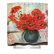 Ukrainian Poppies Shower Curtain