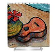 Ukulele And Hibiscus Flower On  A Hawaii Beach Shower Curtain