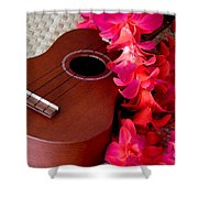 Ukulele And Red Flower Lei Shower Curtain