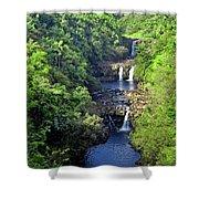 Umauma Falls Hawaii Shower Curtain by Daniel Hagerman