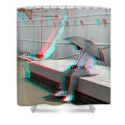 Umbrella Man - Use Red-cyan 3d Glasses Shower Curtain