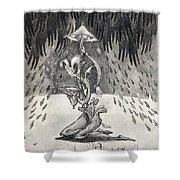 Umbrella Moon Shower Curtain