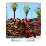 Umbrellas Day Of The Dead Paint  Shower Curtain