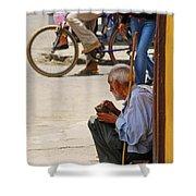 Un Peso Por Favor Shower Curtain by Skip Hunt