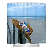 Uncle Carl's Beach Hat Shower Curtain