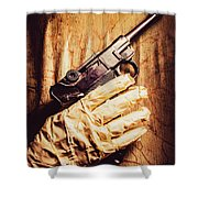 Undead Mummy  Holding Handgun Against Wooden Wall Shower Curtain