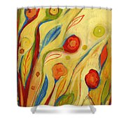 Under A Sky Of Peaches And Cream Shower Curtain by Jennifer Lommers