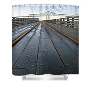Under Astoria Megler Bridge On Riverwalk Shower Curtain
