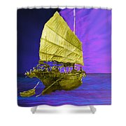 Under Golden Sails Shower Curtain