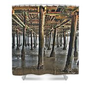 Under The Boardwalk Pier Sunbeams  Shower Curtain