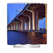 Under The Bridge With Lights 01175 Shower Curtain