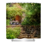 Under The Crepe Myrtle Tree Shower Curtain