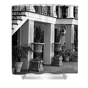 Under The Steps In Savannah - Black And White Shower Curtain