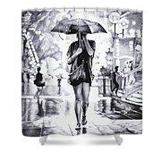 Under The Umbrella - Ballpoint Pen Art Shower Curtain