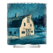 Under The Vermont Moonlight Watercolor Shower Curtain