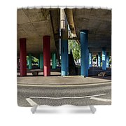 Under The Viaduct A Panoramic Urban View Shower Curtain