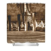 Under The Viaduct B Panoramic Urban View Shower Curtain