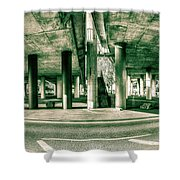 Under The Viaduct C Panoramic Urban View Shower Curtain