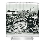 Under The Water With Barrycuda Shower Curtain
