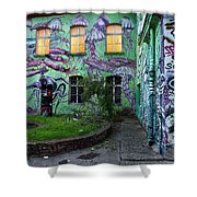 Underwater Graffiti On Studio At Metelkova City Autonomous Cultu Shower Curtain