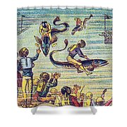 Underwater Race, 1900s French Postcard Shower Curtain